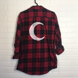 Crescent Moon Flannel Unisex M Red Black